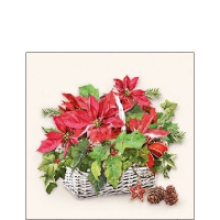 Servietten 25x25 cm - Poinsettia In Basket