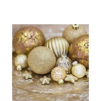 Servietten 25x25 cm - Golden Baubles