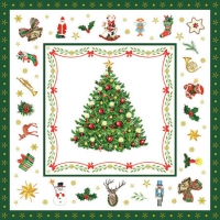 Servietten 25x25 cm - Christmas Evergreen White