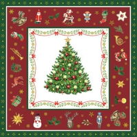 Servietten 25x25 cm - Christmas Evergreen Red