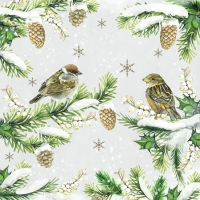 Servietten 25x25 cm - Sparrows In Snow