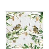 Servietten 25x25 cm - Sparrows In Snow