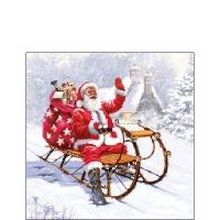 Servietten 25x25 cm - Santa On Sledge
