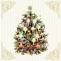 Servietten 25x25 cm - X-Mas Tree Cream