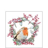 Servietten 25x25 cm - Robin In Wreath