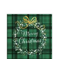 Servietten 25x25 cm - Christmas Plaid Green