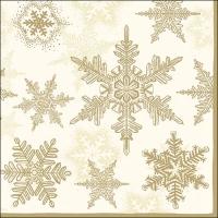 Servietten 33x33 cm - Snow Crystals Cream/Gold