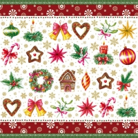 Servietten 33x33 cm - Weihnachtsteile Rot