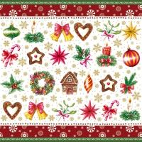 Servietten 33x33 cm - Christmas Parts Red
