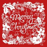 Servietten 33x33 cm - Frohe Weihnachten Rot