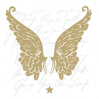 Servietten 33x33 cm - Wings Gold