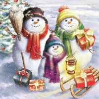 Servietten 33x33 cm - Snowmen Family