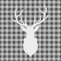Servietten 33x33 cm - Hirsch Umrandung Grau