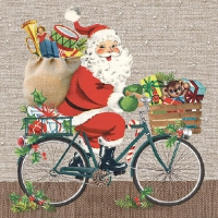 Lunch Servietten Santa On Bike