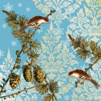 Servietten 33x33 cm - Pinienzapfen Ornamente Blau