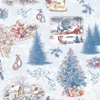 Lunch Servietten Nostalgic Christmas Blue