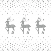 Servietten 33x33 cm - Deer And Dots White/Silver