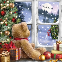 Servietten 33x33 cm - Teddy Looking At Santa