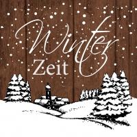 Servietten 33x33 cm - Winter Zeit Brwon