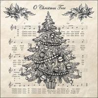 Servietten 33x33 cm - O Weihnachtsbaum Schwarz