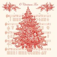 Servietten 33x33 cm - O Weihnachtsbaum rot