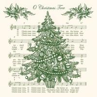 Servietten 33x33 cm - O Weihnachtsbaum Grün