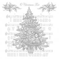 Servietten 33x33 cm - O Weihnachtsbaum Silber