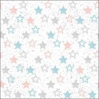 Servietten 33x33 cm - Stars All Over Petrol