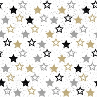 Servietten 33x33 cm - Stars All Over Black