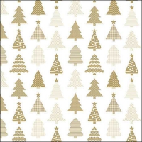 Servietten 33x33 cm - Small Trees Gold