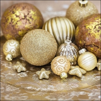 Servietten 33x33 cm - Golden Baubles