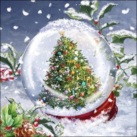Servietten 33x33 cm - Tree In Snowglobe
