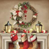 Servietten 33x33 cm - Wreath and Socks