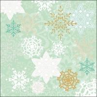 Servietten 33x33 cm - Delicate Stamps Green