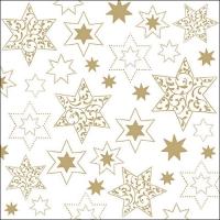 Servietten 33x33 cm - Ornaments In Stars Gold