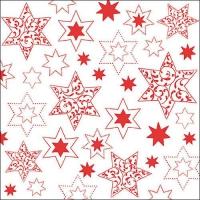Servietten 33x33 cm - Ornaments In Stars Red