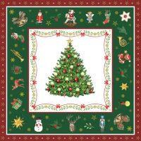 Servietten 33x33 cm - Christmas Evergreen Green