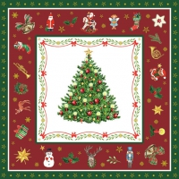 Servietten 33x33 cm - Christmas Evergreen Red