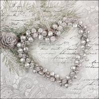 Servietten 33x33 cm - Heart Of Pearls
