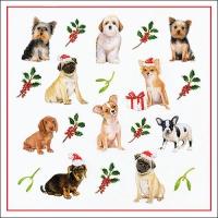 Servietten 33x33 cm - Christmas Dogs
