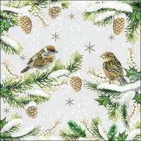 Servietten 33x33 cm - Sparrows In Snow