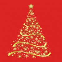 Servietten 33x33 cm - Shining Tree Red