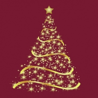 Servietten 33x33 cm - Shining Tree Bordeaux