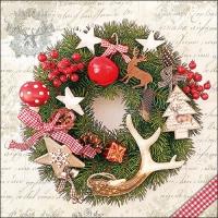 Servietten 33x33 cm - Forest Wreath