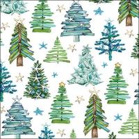 Servietten 33x33 cm - Tree Pattern Green