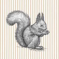 Servietten 33x33 cm - Etching Squirrel Lines