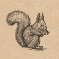 Servietten 33x33 cm - Recycled Etching Squirrel