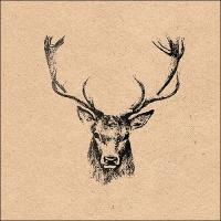 Servietten 33x33 cm - Recycled Deer Head