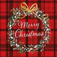 Servietten 33x33 cm - Christmas Plaid Red