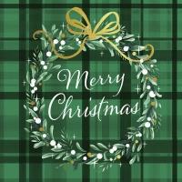 Servietten 33x33 cm - Christmas Plaid Green